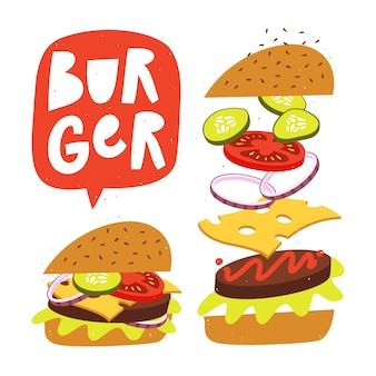 Jumping burger con ingredienti freschi. vector fast food illustrazione.