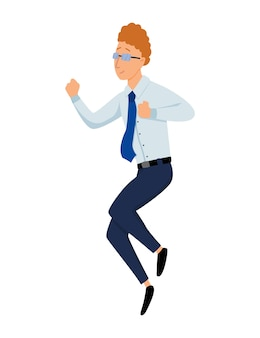 Salto di uomini d'affari. l'uomo d'affari salta su uno sfondo bianco.
