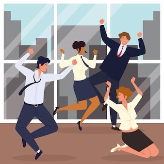 Uomini d'affari che saltano per celebrare l'ufficio