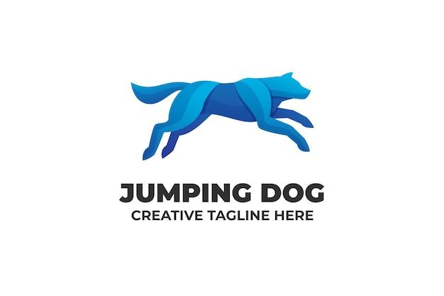 Logo aziendale con gradiente di cane che salta