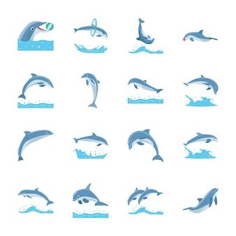 Icone di delfini che saltano