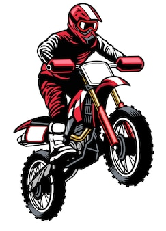 Pilota di salto in sella al motocross