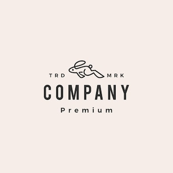 Modello di logo vintage di salto in esecuzione coniglio lepre coniglietto hipster