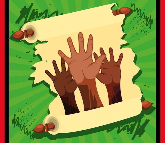 Juneteenth mani dalla pelle scura pergamena
