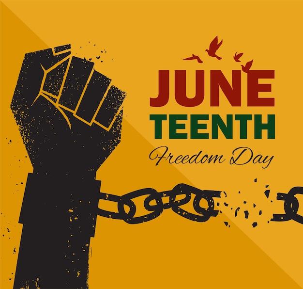 Juneteenth emancipation day il pugno alza la catena spezzando