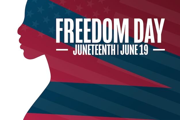 Giugno. giornata della libertà. 19 giugno. concetto di vacanza. modello per sfondo, banner, carta, poster con iscrizione di testo. illustrazione di vettore eps10.