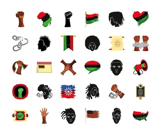 Juneteenth mani persone bandiera mappa