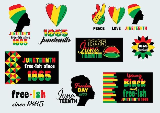 Juneteenth set black lives matter festeggia la libertà o il giorno dell'emancipazione afroamericano