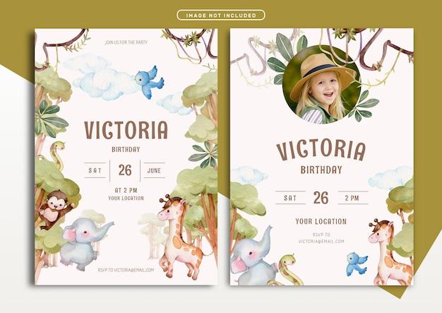 Modello della carta dell'invito di compleanno di tema di avventura nella giungla
