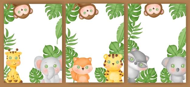 Set di carte animali della giungla.