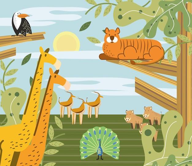Animali della giungla nell'illustrazione del fumetto del paesaggio della natura della savana