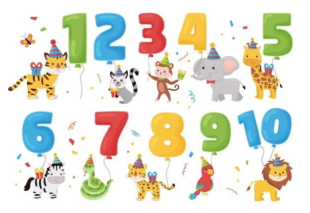 Animali della giungla con numeri palloncini, regali e cappelli. buon compleanno.