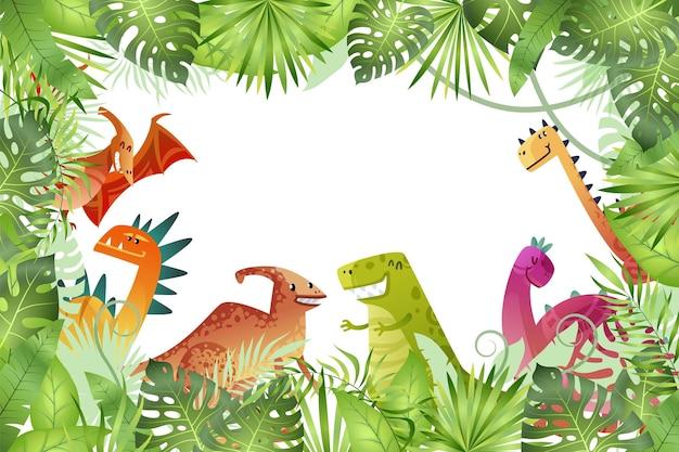 Sfondo della giungla. dinosauri divertenti su sfondo della foresta pluviale, drago animale e rettile di natura carina nella foresta, cornice vuota luminosa infantile o modello di confine, illustrazione isolata del fumetto di vettore