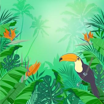 Sfondo giungla con foglie, fiori tropicali e un tucano. illustrazione