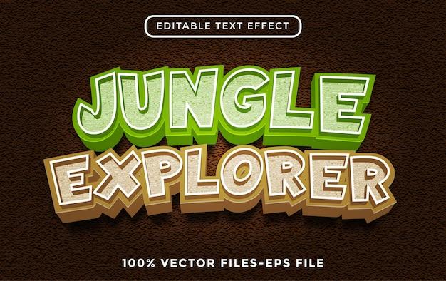 Effetto testo jungle explorer, cartone animato modificabile e stile di testo della foresta vettore premium