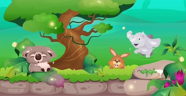 Illustrazione di colore piatto giungla coala vicino all'albero coniglio carino ed elefante nel verde salvagente animale conservazione della fauna selvatica paesaggio tropicale del fumetto con vegetazione su priorità bassa