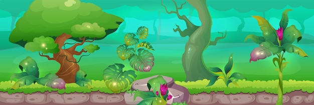 Illustrazione di colore piatto giungla. foresta di fantasia selvaggia. fauna selvatica nella foresta pluviale. fogliame sugli alberi. estate in boschi esotici. paesaggio tropicale del fumetto 2d con pianta su fondo