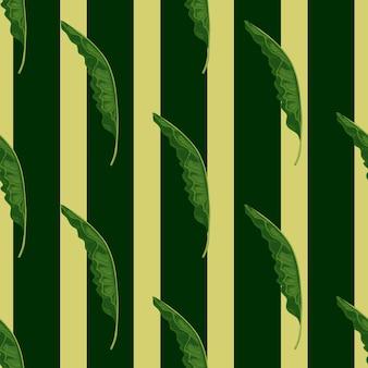 Modello senza cuciture della foresta della giungla con forme di fogliame di palma verde. sfondo a righe. stampa natura astratta. stampa vettoriale piatta per tessuti, tessuti, confezioni regalo, sfondi. illustrazione infinita.