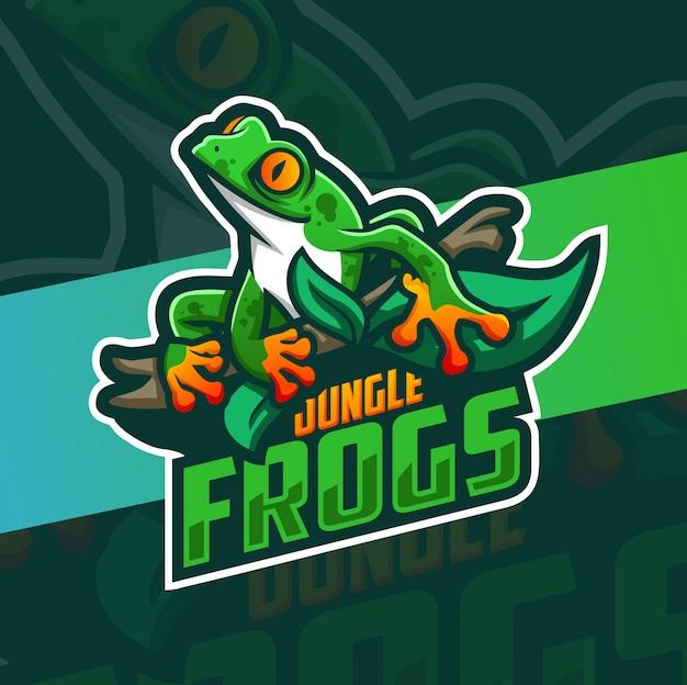 Disegno logo mascotte rana giungla