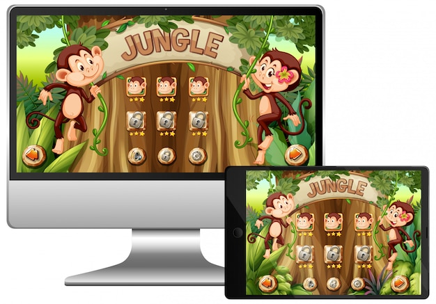 Gioco della giungla sullo schermo del computer