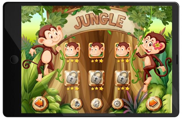 Gioco della giungla sullo schermo del tablet