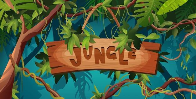 Scritte a mano nella giungla testo in legno lettere dei cartoni animati con texture liana o rami tortuosi di vite
