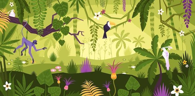 Composizione piana nel paesaggio della giungla con la vista orizzontale delle piante e degli animali esotici dei fiori tropicali con l'illustrazione degli uccelli
