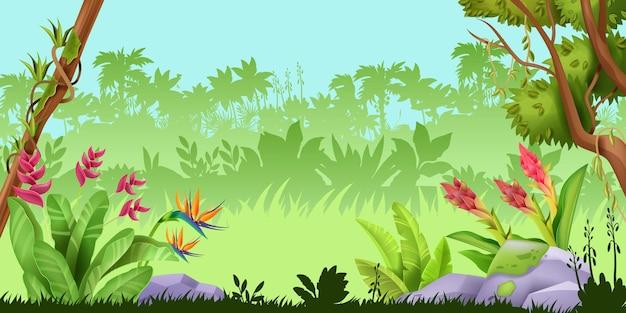 Fondo del gioco della natura della foresta pluviale tropicale del paesaggio della giungla