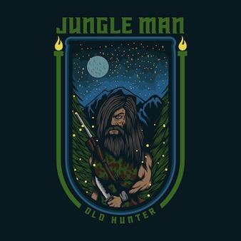 Distintivo dell'illustrazione di vettore del cacciatore anziano della giungla dell'uomo