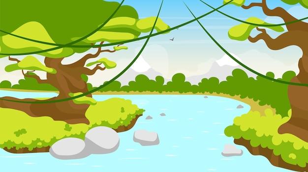 Jungle river piatto. lago mediterraneo. corpo idrico tropicale. scena panoramica con alberi e liane. riverside, riverbrook. flusso esotico di amazon. priorità bassa del fumetto di corso d'acqua