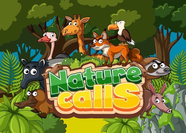 Scena della giungla con la parola per le chiamate della natura