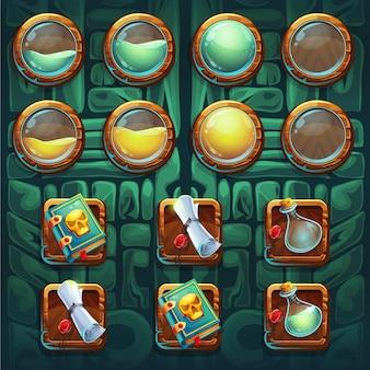 Elementi del kit di pulsanti della gui degli sciamani della giungla
