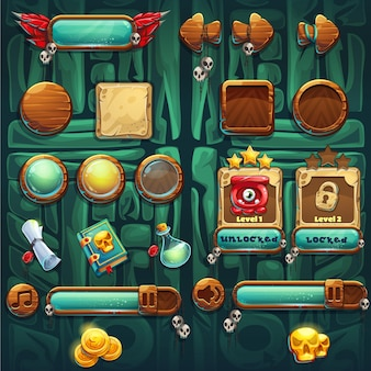 I pulsanti delle icone della gui degli sciamani della giungla impostano gli elementi vettoriali per l'interfaccia di gioco