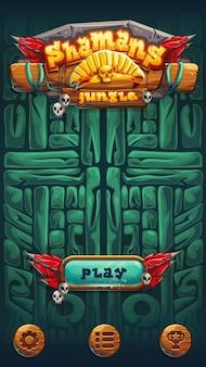 Schermata della finestra di gioco dell'interfaccia utente del gioco mobile degli sciamani della giungla. illustrazione vettoriale