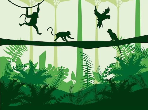 Paesaggio di colore verde della natura selvaggia della giungla con scena di scimmie e pappagalli