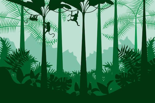 Paesaggio di colore verde natura selvaggia giungla con scena di scimmie