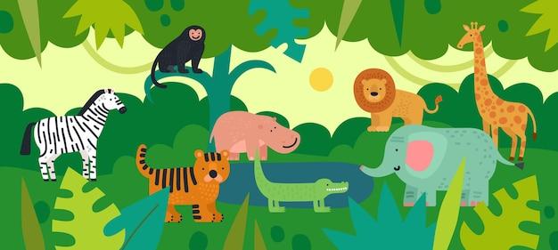 Giungla con animali. zebra, scimmia e ippopotamo