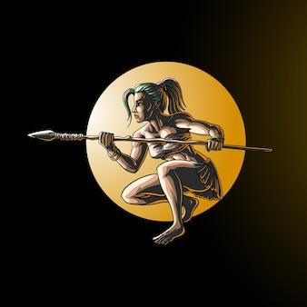 Donna della giungla che porta una lancia in cerchio isolato sul nero