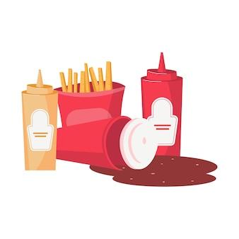 Composizione piatta di cibo spazzatura con patatine fritte bottiglia di senape ketchup e coca cola versata