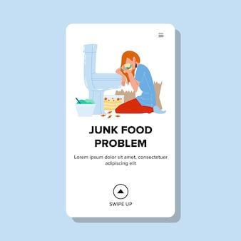 Donna di dieta malsana problema cibo spazzatura