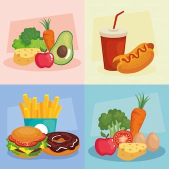 Cornici alimentari spazzatura e salutari