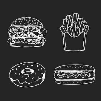 Schizzo alla lavagna di junkfood hamburguer patatine fritte hot dog donnut