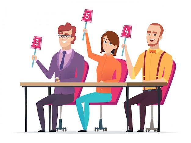 Giuria con voti. giudicato con scorecard personaggi della competizione televisiva di intrattenimento intelligente seduto giuria