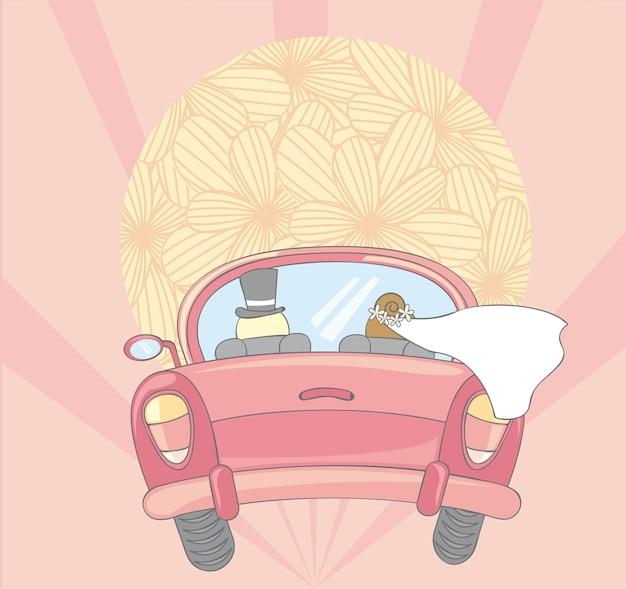Appena auto sposata con illustrazione vettoriale sole carino