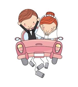 Auto della coppia appena sposata isolata