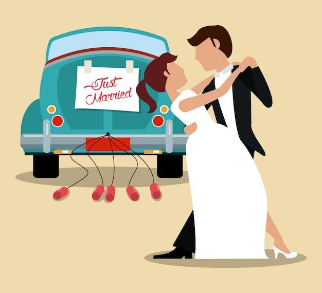 Solo coppia di sposi che balla e auto