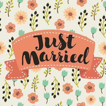 Appena sposato, lettere disegnate a mano per invito a nozze di design