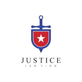 Logo dello studio legale di giustizia con scudo di spada e simbolo della stella