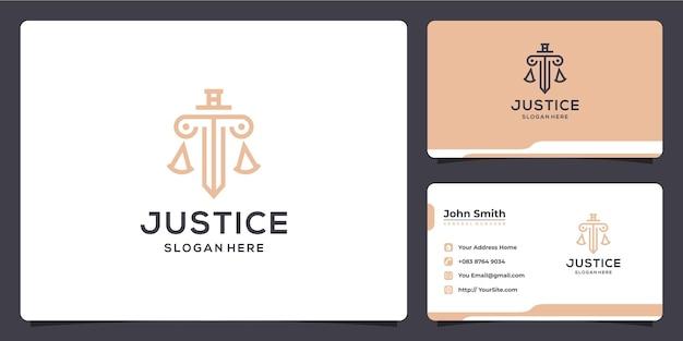 Design e biglietto da visita del gabinetto di lusso dello studio legale della giustizia