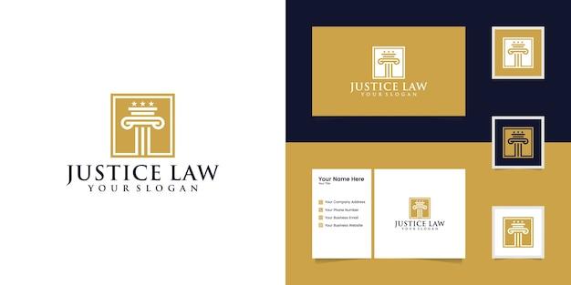 Logo della legge della giustizia e biglietto da visita